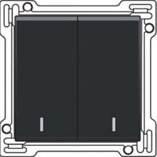 Afwerkingsset met dubbele lens voor serieschakelaar, wisselschakelaar + drukknop N.O., dubbele wisselschakelaar of dubbele drukknop N.O. of N.G., Bakelite-look piano black coated