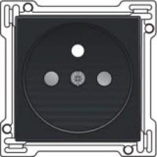 Afwerkingsset voor stopcontact met penaarde en kinderveiligheid, inbouwdiepte 28,5mm, Bakelite-look piano black coated
