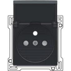 Afwerkingsset voor stopcontact met klapdeksel, penaarde en kinderveiligheid, inbouwdiepte 28,5mm, Bakelite-look piano black coated