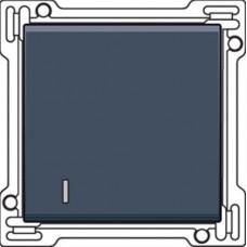 Afwerkingsset met lens voor enkelvoudige schakelaar of drukknop, alu-look steel grey