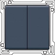 Afwerkingsset voor serieschakelaar, wisselschakelaar + drukknop N.O., dubbele wisselschakelaar of dubbele drukknop N.O. of N.G., alu-look steel grey