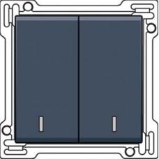 Afwerkingsset met dubbele lens voor serieschakelaar, wisselschakelaar + drukknop N.O., dubbele wisselschakelaar of dubbele drukknop N.O. of N.G., alu-look steel grey