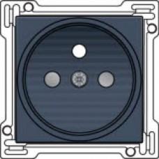 Afwerkingsset voor stopcontact met penaarde en kinderveiligheid, inbouwdiepte 21mm, alu-look steel grey