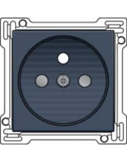 Afwerkingsset voor stopcontact met penaarde en kinderveiligheid, inbouwdiepte 28,5mm, alu-look steel grey