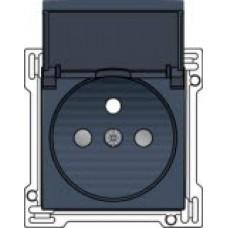 Afwerkingsset voor stopcontact met klapdeksel, penaarde en kinderveiligheid, inbouwdiepte 28,5mm, alu-look steel grey