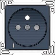 Afwerkingsset met doorschijnende lens voor stopcontact met spanningsaanduiding, penaarde en kinderveiligheid, inbouwdiepte 28,5 mm, alu-look steel grey