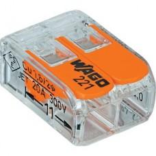 wago Verbindingsklem COMPACT: 2 x 0,14 - 4 mm² - Transparant & Oranje 100 stuks