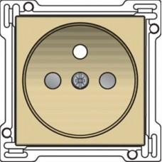 Afwerkingsset voor stopcontact met penaarde en kinderveiligheid, inbouwdiepte 28,5 mm, alu gold coated