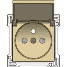 Afwerkingsset voor stopcontact met klapdeksel, penaarde en kinderveiligheid, inbouwdiepte 28,5mm, alu-look gold