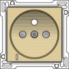 Afwerkingsset met doorschijnende lens voor stopcontact met spanningsaanduiding, penaarde en kinderveiligheid, inbouwdiepte 28,5 mm, alu-look gold