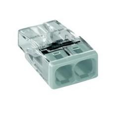 wago compact steekklem 2 x 0,5-2,5mm²  transparant wit 100 stuks