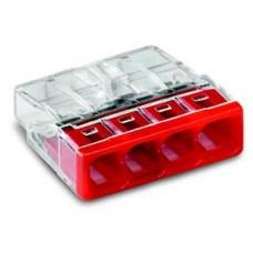 wago compact steekklem 4 x 0,5-2,5mm²  transparant rood 100 stuks