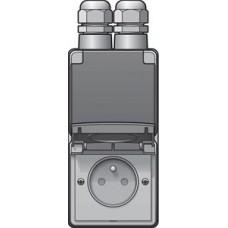 new hydro dubbel verticaal stopcontact met penaarde, kinderveiligheid en schroefklemmen – inclusief doos met twee ingangen bovenaan
