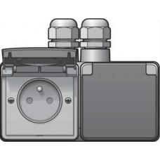 new hydro dubbel horizontaal stopcontact met penaarde, kinderveiligheid en schroefklemmen – inclusief doos met twee ingangen bovenaan