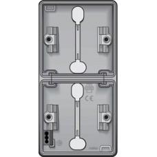 new hydro dubbele verticale opbouwdoos met twee enkelvoudige soepele ingangen voor het inbouwen van twee functies, grey