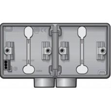 new hydro dubbele horizontale opbouwdoos met één tweevoudige M20-ingang voor het inbouwen van twee functies, grey