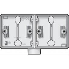 horizontale opbouwdoos met één enkelvoudige ingang M20 voor het inbouwen van twee functies, wit
