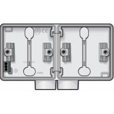 horizontale opbouwdoos met één tweevoudige ingang M20 voor het inbouwen van twee functies, wit